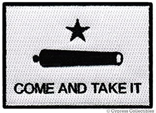 COME AND TAKE IT FLAG PATCH - TEXAS REVOLUTION IRON-ON EMBROIDERED GONZALES GUN