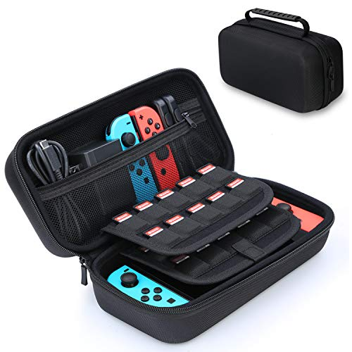 HEYSTOP Funda para Nintendo Switch, Funda de Viaje para Nintendo Switch con Más Espacio de Almacenamiento para 20 Juegos, Funda para Nintendo Switch Console & Accesorios (Negro)