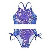 Freebily Traje de Baño Niñas de Dos Pieza Bra Top + Braguitas Bikini Set Ropa Bañador de Natación Bañadores 2Pcs Tankinis Conjuntos Playa para 2-14 Años Azul 11-12 años
