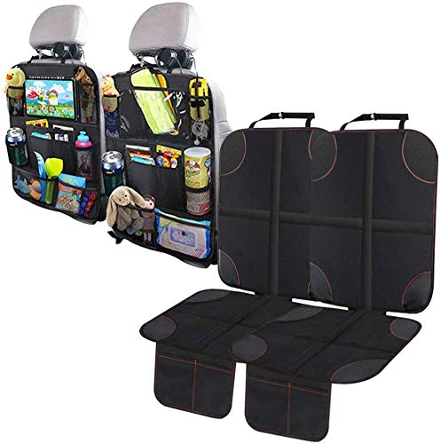 Omotor 4PCS Car Seat Protector Set Tablet Holder Kick Mat Cover Car Backseat Organizer for Kid & Toddlers Baby Carseat Cover (2 Sets)