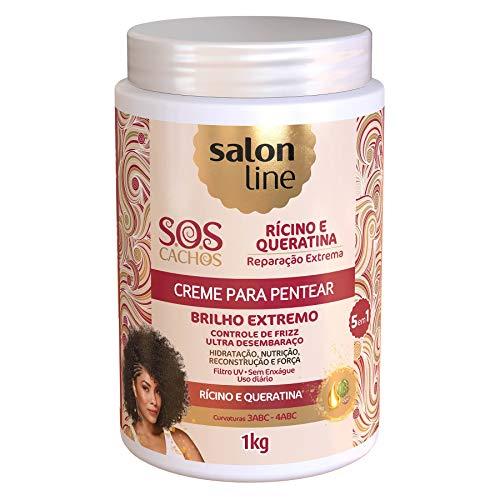Salon Line - Linha Tratamento (SOS Cachos) - Creme Para Pentear Ricino e Queratina 1000 Gr - (Salon Line - Treatment (SOS Curls) Collection - Castor Oil And Keratin Combing Cream Net 35.27 Oz)