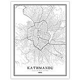 Bilder Auf Leinwand,Kathmandu Map Poster Print, Nepal City