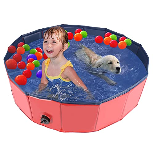 HALOVIE Dog Pool Foldable Dog Paddling Pool Pets Kids Dog Swimming Pool PVC Bath Tub for Pet Cats Large Small Puppy Indoor/Outdoor Children Bathing Pool for Garden