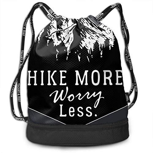 Backpack Sac à Dos Hike More Worry Less Hiker Outdoor Lover Drawstring Backpack Sports Gym Cinch Sack Bag for Men and Women Shoulder Bags for Men/Women