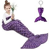Amyhomie Mermaid Tail Blanket, Little Mermaid Blanket Soft Crochet All Seasons Sleeping Blanket for Kids, Mermaid Gift for Girls(Violet,Kids)