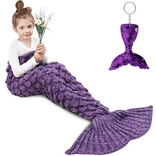 AmyHomie Mermaid Tail Blanket, Mermaid Blanket Adult Mermaid Tail Blanket, Crotchet Kids Mermaid Tail Blanket for Girls (Violet, Kids)