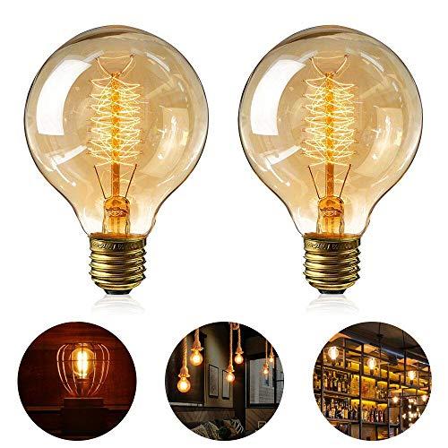 Edison Vintage Glühbirne, 2 Stück Globe Glühlampe Retro Glühbirne Warmweiß E27 40W Nostalgie leuchtmittel Dimmbar Spiral Faden Dekorativ Lampe Ideal für Dekorative Beleuchtung im Haus Café Bar usw