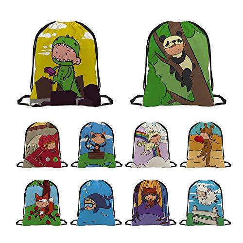 Anelify 10 Pack Bolsas de Cuerdas para Infantil,Mochila con Cordón Niños Niñas, Bolsas Regalo Cumpleaños Deporte Gimnasio Backpack para Niños Niñas Fiesta de Cumpleaños Regalos