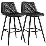 SONGMICS Barhocker, 2er Set, Barstühle mit Rückenlehne und Fußstütze aus Metall, PU-Bezug, mit Polsterung, für Bar, Küche, Ess- und Wohnzimmer, bis 120 kg belastbar, schwarz LJB025B01
