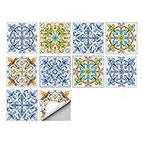 VIVILINEN 10 Piezas Pegatinas de Baldosas de Cerámica Antideslizantes de Estilo Europeo, Adhesivo de Azulejo para Cocina Baño Collage de Azulejos Resistentes al Agua y Aceite (1#, 30 * 30cm)