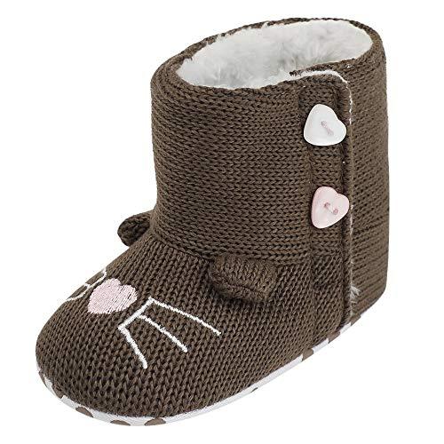 Zapatos Bebe PriBebésos Pasos, SunGren Muchachas Lindas del Bebé Niña Niño Botas Suaves de Nieve de Suela Zapatos Suaves de Cuna Botas Recién Nacidas 0-6 6-12 12-18 Mes(marrón,Años:6-12M