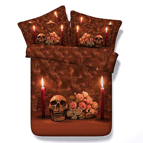 218 ZHENJIL Duvet Cover Sets 3D Candle Skeleton Painting 3 Piece Set Bedding 100% Microfiber For Gifts (1 Duvet Cover + 2 Pillowcases) Queen(228cm*228cm)
