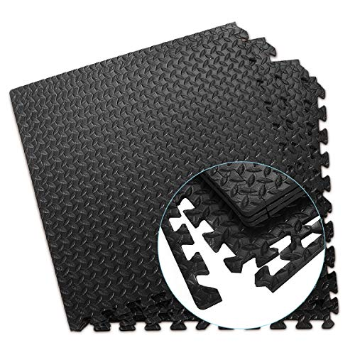 COSTWAY Schutzmatte 12 Stück, Bodenschutzmatte je 60x60x1,2cm, Puzzlematte aus Eva, Matte für Bodenschutz, Unterlegmatte Fitnessmatte Gymnastikmatte inkl. Randstück (Schwarz)