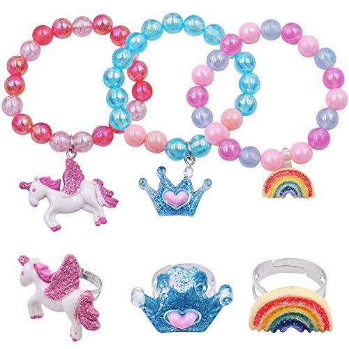 YUESEN Pulsera para Niñas Juego de Pulseras de Unicornio Coloridas para Niñas, Anillos de Unicornio Arcoíris para Niñas, Set, Joyería Infantil(6 Pcs)