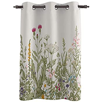 Window Curtains Drapes 63inch Length Bedroom Curtain Panels Treatments for Bathroom Kitchen Living Room Elegant Flower Tulip Thermal Insulated Darkening Curtain Grommet 52  Wide Floral