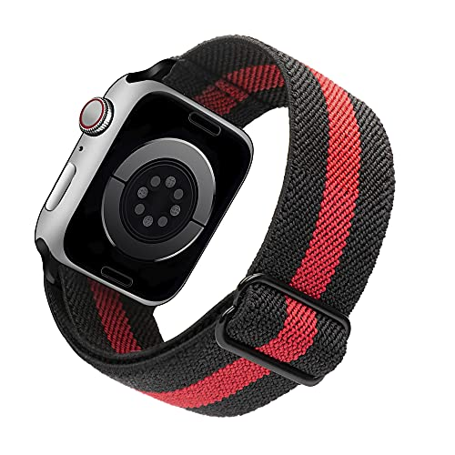 Arae Stretchy Nylon Watch Band Compatible with Apple Watch Series 6 5 4 SE 44mm 40mm and Series 3 2 1 42mm 38mm Adjustable Solo Loop Sport Elastic Watch Band Strap-Black+Red, 38/40mm