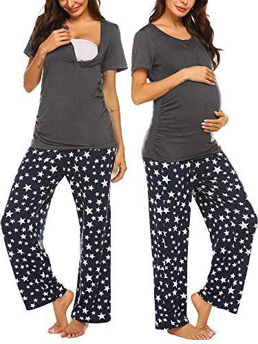 Ekouaer Nursing PJ Set Delivery/Labor/Maternity/Pregnancy Breastfeeding Pajamas Sleepwear Set (Star Printed M)