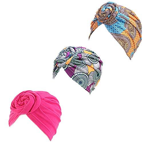 3 Packs Women Turban African Pattern Knot Headwrap Sleep Beanie Pre-Tied Bonnet Chemo Cap Hair Loss Hat Solid Color Head Wrap Stretch Long Hair Scarf