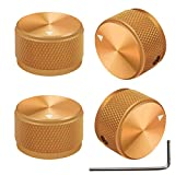 mxuteuk 4pcs Gold Aluminum Alloy Potentiometer Control knurled Knob Volume Audio Electric Guitar Bass Screw Type 25 x 15.5mm (dh) KNOB-03-25GLD