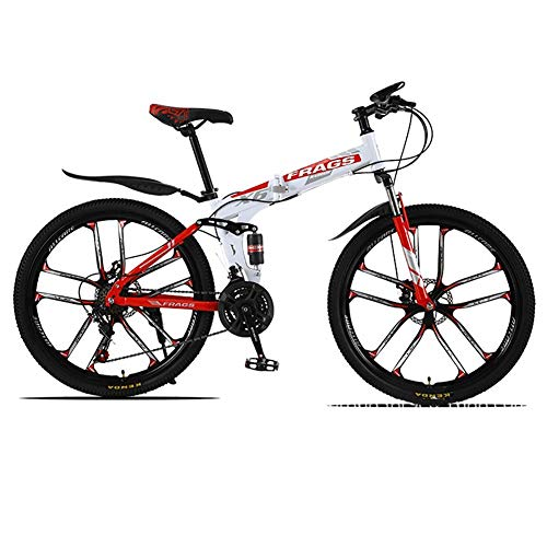 ZWPY 21-Speed Variable Speed Bicycle, 26 Inch Adult Mountain Bike, Folding Outroad Bicycles, Rear Shock Design, Adult MTB (White Red)