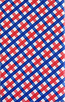 Patriotic Red White and Blue Check Pattern Vinyl Flannel Back Tablecloth  52  x 52  Square