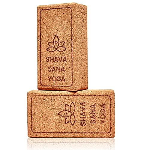 Bloques para Yoga de Corcho 100% Ecológico y Natural (Pack 2 Unidades) Ladrillos de Yoga Ideales para el Soporte y Apoyo de Todas Las Asanas y Ejercicios de Relación y Meditación. 22x12x7,5 ⭐