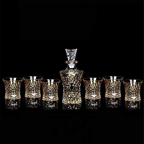 HUDEMR Vino de contenedores Forradas en Oro de Bohemia Cristal de Whisky de Cristal Sistema del Vino Siete Conjunto de Botella de Vino de Vidrio sin Plomo decantadores (Color : F, Size : 750ml)