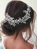 Vakkery - Diadema de novia con cristales de imitación plateados, accesorio para el pelo de novia para mujeres y niñas