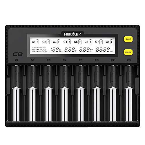 Festnight MiBOXER C8 Intelligentes Universal 1,5A 8-fach LCD-Display-Ladegerät für 18650 Li-Ion LiFePO4 Ni-MH Ni-Cd AA 21700 20700 26650 18350 17670 RCR123 18700