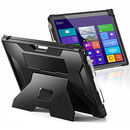 Dadanism Hülle für Microsoft Surface Pro 7/ Pro 7 Plus/Pro 6/Pro 5/Pro 4/LTE, Stoßfest TPU Hartschale Schutzhülle mit Multi-Winkel Verstellbar Ständer Handschlauf & Stifthalter - Schwarz