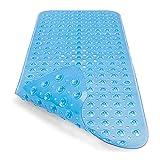 RenFox Badewannenmatte Duschmatte Antirutschmatte Badewanne Badewanneneinlage für Kinder Baby, Badematte rutschfest mit Saugnapf Maschinenwaschbar Extra Lang 100x40cm (Blau Transparent)