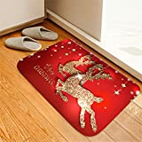 Shan-S Christmas Mat Non-Slip Floor Mats Bathroom Floor Carpet Merry Christmas Tree Reindeer Santa Claus Snowman Printed Ornament for Xmas Bedroom Home Living Dining Room Playroom