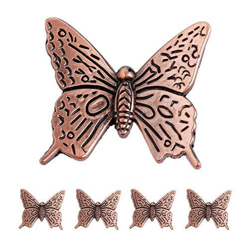 5 pomelli per armadietti, maniglie per porte, armadi, cassetti, cassetti, stile fattoria, stile vintage, farfalla, rosso bronzo (4,7 x 4,7 x 1,57 x 1,67 cm)