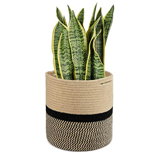 TIMEYARD Sturdy Jute Rope Plant Basket Modern Woven Basket for 11' Flower Pot Floor Indoor Planters, 12.5'' x 12.5'' Storage Organizer Basket Rustic Home Decor, Black and Beige Stripes