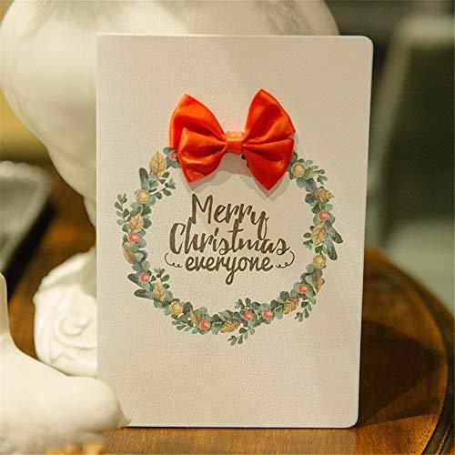 SONGHJ Bellissimo Biglietto Di Auguri Di Natale Grande Fiocco Biglietti Di Auguri Di Natale 3D Creativi Ornamento Di Natale 10 Pezzi