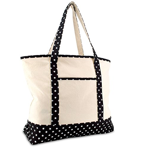 DALIX 22' Shopping Tote Bag in Heavy Cotton Canvas (Zippered Top) Black Star