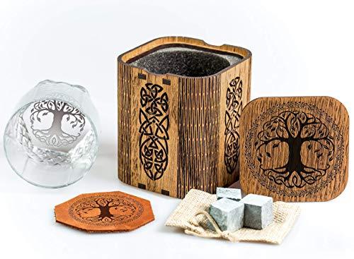 Celtic Tree of life Whiskey Glass Gift Set. Viking symbol Fans Gift