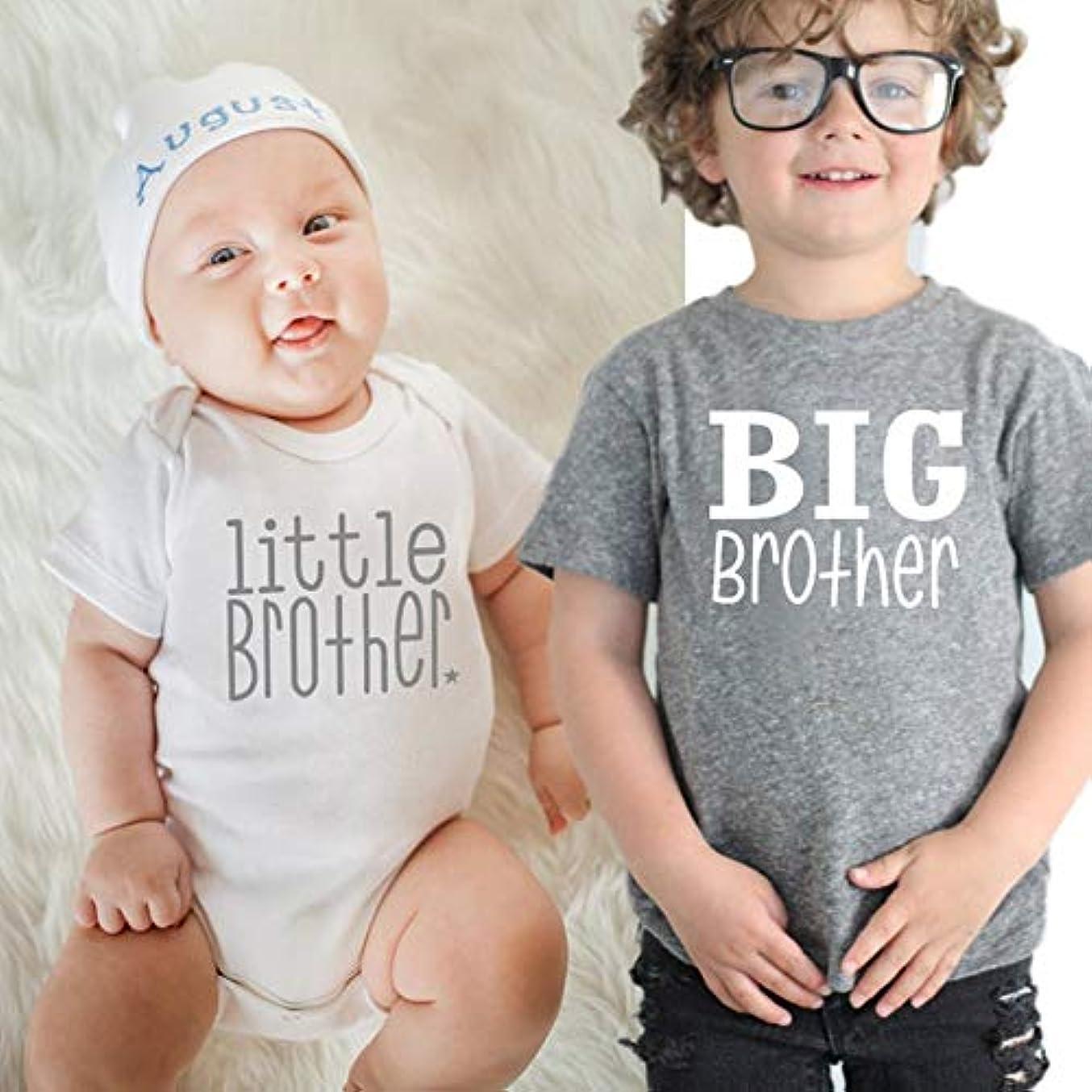 空白書く防止Bonni 夏の綿の男の子女の子Tシャツソリッドビッグブラザーレタープリントトップス半袖幼児プルオーバーTシャツトップス服