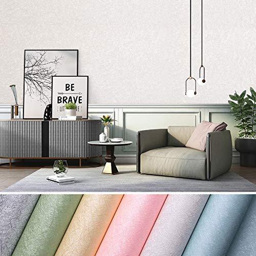 Selbstklebend Tapeten wasserfest Wandtapete wandtapeten wandtattoo 0.61 * 5M Wandaufkleber wandpaneel wandpapier Klebefolie für Wohnzimmer TV Hintergrund Wand (Weiß)