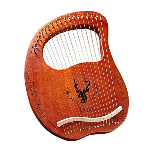 Rich-home Harfe, Lyre Harp Kleine 19-saitige Lyre Piano Stahldraht Saiten Instrument Mahagoni Lyra Harfe mit Einstellschlüssel, 2 Pick, Klaviertasche, Anleitung, Reinigungstuch