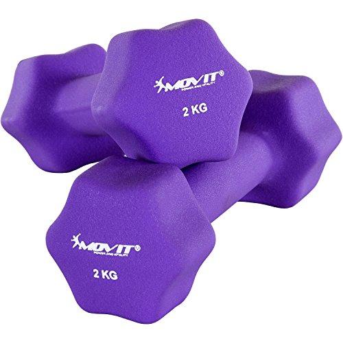 Movit 2er Set Neopren Hanteln, Kurzhanteln mit Oberfläche aus Neopren, 2X 2 kg Lila