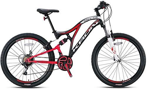 KRON ARES 4.0 Fully Mountainbike 27.5 Zoll | 21 Gang Shimano Kettenschaltung mit V-Bremse | 16.5 Zoll Rahmen Vollgefedert MTB Erwachsenen- und Jugendfahrrad | Schwarz Rot Weiß