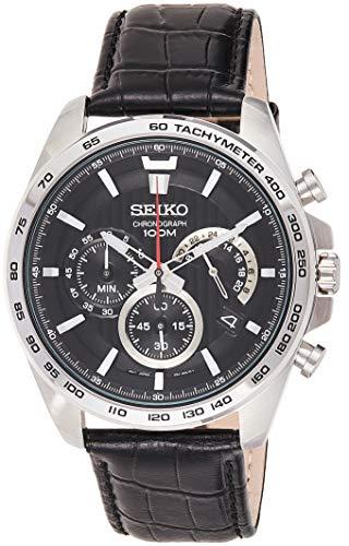 Seiko Orologio Cronografo Quarzo Uomo con Cinturino in Pelle SSB305P1, Nero