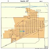 Large Street & Road Map of Hardin, Montana MT - Printed poster size wall atlas of your home town