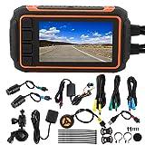 aqxreight - Grabadora de conducción, Grabadora de conducción de motocicletas GPS WIFI DVR Cámara retrovisora de salpicadero con LCD