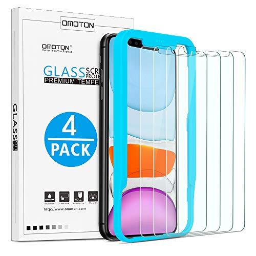 [4 Stück] OMOTON Panzerglasfolie für iPhone 11 & iPhone XR (6,1 Zoll),Bildschirmschutzfolie mit Positionierhilfe,9H Festigkeit,Anti-Kratzen,Anti-Öl,Anti-Bläschen,Hülle Fre&llich,[2.5D R&e Kante]