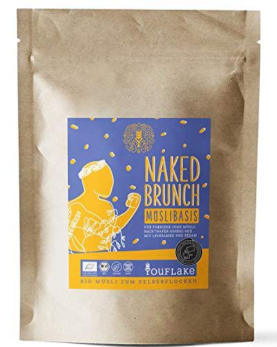 YouFlake Müsli Basis (Bio) NAKED BRUNCH   Müsli für Flockenquetsche   Nackthafer, Dinkel, Sesam & Leinsamen   2,5kg