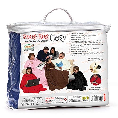 Snug Rug Cosy, couverture en molleton avec des manches et une poche poche pratique - Bleu marine
