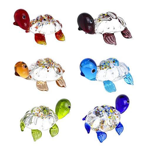 H&D HYALINE & DORA Glasgeblasene Schildkröten-Figuren aus Kristall, Heim-Ornamente, Set mit 6 kleinen niedlichen Skulpturen, Tischregal-Dekoration