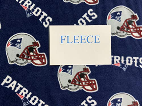 NFL New England Patriots Polyester Fleece Fabric, Navy Blue & White - Sold By the Yard